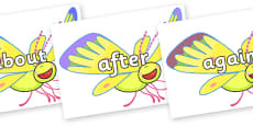 KS1 Keywords on Yellow Butterfly to Support Teaching on The Crunching Munching Caterpillar