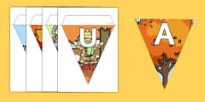 Autumn Display Lettering Bunting