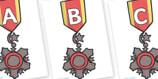 A-Z Alphabet on Medal