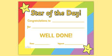 Star of the Day Award Certificate