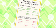 Who Is Your Friend? Activity Sheet