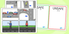 Crossing the Road Safe and Unsafe Sorting Cards Arabic Translation