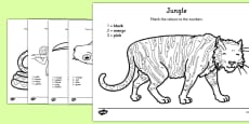 Jungle Colour by Number Counting Activity Sheet