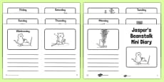 Black and White Mini Diary to Support Teaching on Jasper's Beanstalk