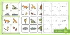 Wort und Bilderkarten für das Unterrichtsthema Der Grüffelo