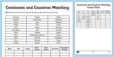 Continents and Countries Matching Activity Sheet