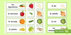 Fruit and Vegetables Word Cards Spanish