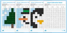 Winter Subtraction Mosaic Activity Sheets