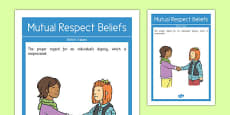 Mutual Respect Beliefs British Values Display Poster