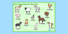 Farm Animals Word Mat Spanish
