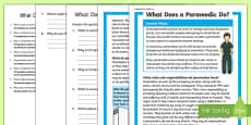 What Does A Paramedic Do? Differentiated Reading Comprehension Activity