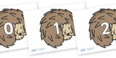Numbers 0-31 on Hedgehogs