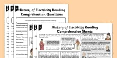History of Electricity Differentiated Reading Comprehension Activity