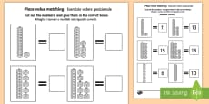 Place Value Tens and Units Cut and Stick Activity Sheet English/Italian