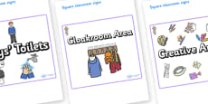 Selkie Themed Editable Square Classroom Area Signs (Plain)