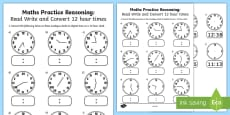 * NEW * Read, Write and Convert Time Between Analogue and Digital 12 hour Clocks Assessment