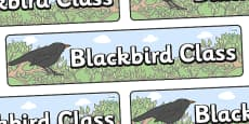 Blackbird Themed Classroom Display Banner