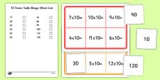 Ten Times Table Bingo