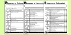 Statement or Exclamation Differentiated Activity Sheet Pack