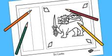 Sri Lanka Flag Colouring Sheet