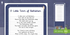 O Little Town of Bethlehem Carol Handwriting Practice Activity