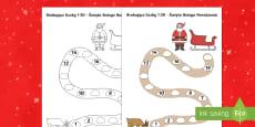 Karta Brakujące liczby od 1 do 20 Święta Bożego Narodzenia