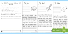 Native New Zealand Animals Handwriting Year 3&4 Activity Sheets