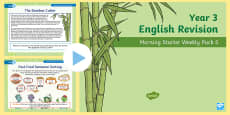 Year 3 English Revision Morning Starter Weekly PowerPoint Pack 5
