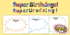 Superhero themed birthday display pack English / Polish