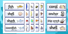 Under the Sea Word Cards Arabic Translation