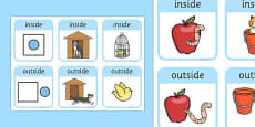 Outside And Inside Locational Prepositions Word Cards
