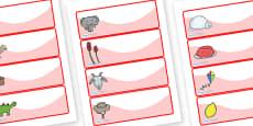 Editable Drawer - Peg - Name Labels (Set 2) - Red
