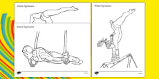 The Olympics Gymnastics Colouring Sheets