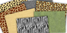 Safari Animal Themed Pattern A4 Sheets