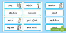 School Role Play Teacher Word Cards
