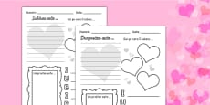 Valentine's Day Worksheet Romanian