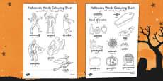 Halloween Words Colouring Activity Sheet Arabic Translation