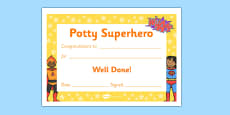 Potty Superhero Certificate