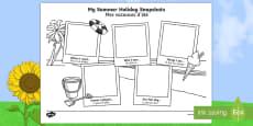Summer Holiday Snapshots Writing Frames English/French
