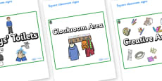 Opal Themed Editable Square Classroom Area Signs (Plain)