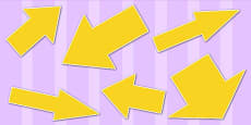 Yellow Directional Arrows Cut Out