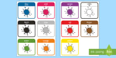 * NEW * Colour Word Flashcards Romanian/English