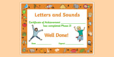 Letters and Sounds Award Certificates Phase 2