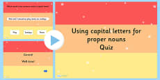 Using Capital Letters for Proper Nouns SPaG Punctuation PowerPoint Quiz