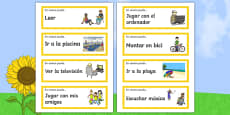 Free time activities in summer Word Cards Spanish