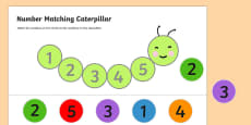Number Matching Caterpillar Activity