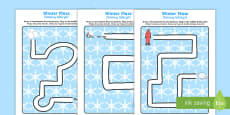 Winter Pencil Control Path Activity Sheets English/Polish