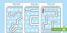 Winter Pencil Control Path Activity Sheets English/Polish