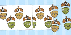 Multiplication Acorn Matching Activity