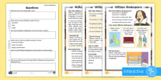* NEW * KS1 William Shakespeare Differentiated Comprehension Go Respond  Activity Sheets
